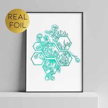 Load image into Gallery viewer, Floral Hexagons Foil Print