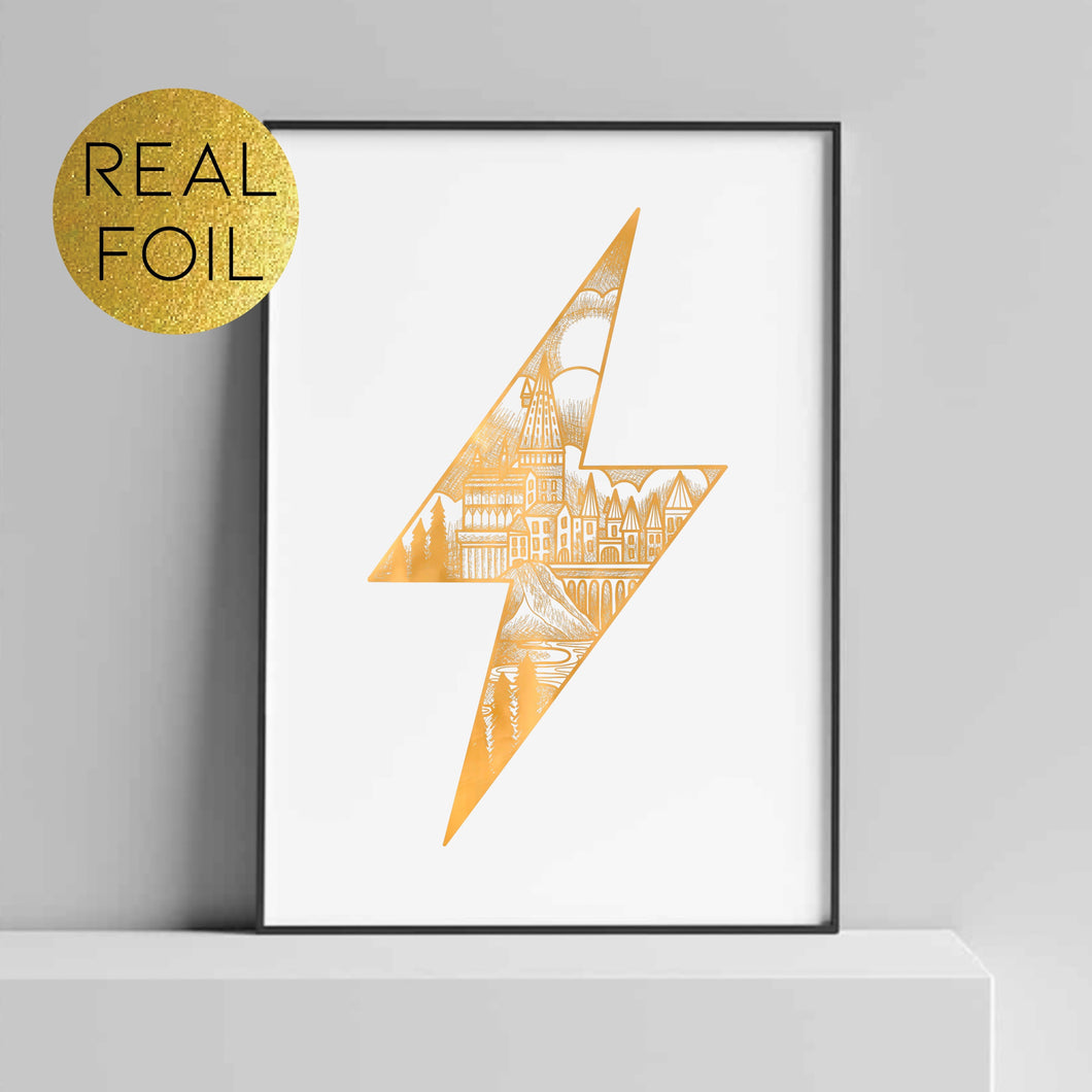 Lighting Bolt Castle Foil Print