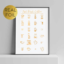 Load image into Gallery viewer, But First, Coffee Infographic Foil Print
