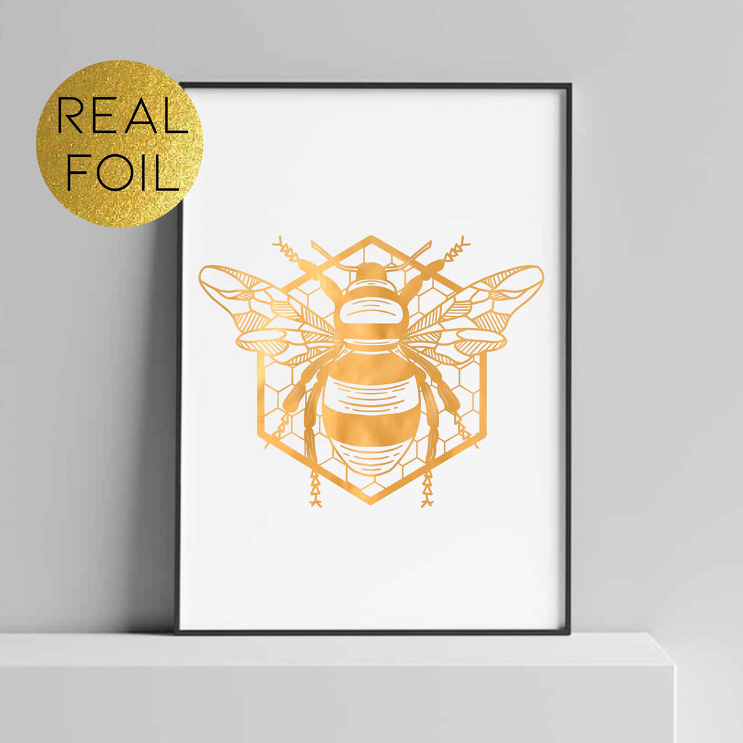 Honey Bee Hexagon Foil Print