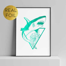 Load image into Gallery viewer, Great White Shark Foil Print