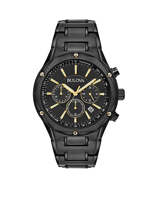 Bulova Men's Black Ion-Plated Chronograph Watch