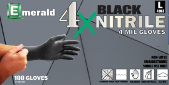 Emerald 4X Black Nitrile Gloves – 4 Mil