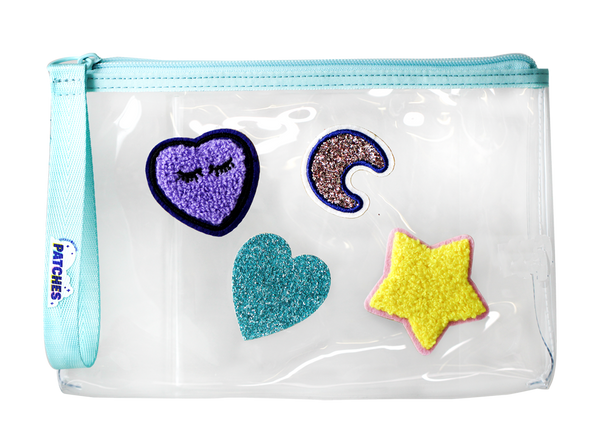 Starter Medium Wristlet with Patches - Turquoise