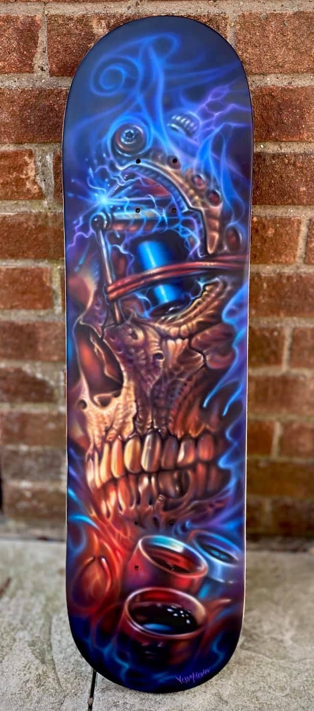 Old Skull tattoo Painted skateboard
