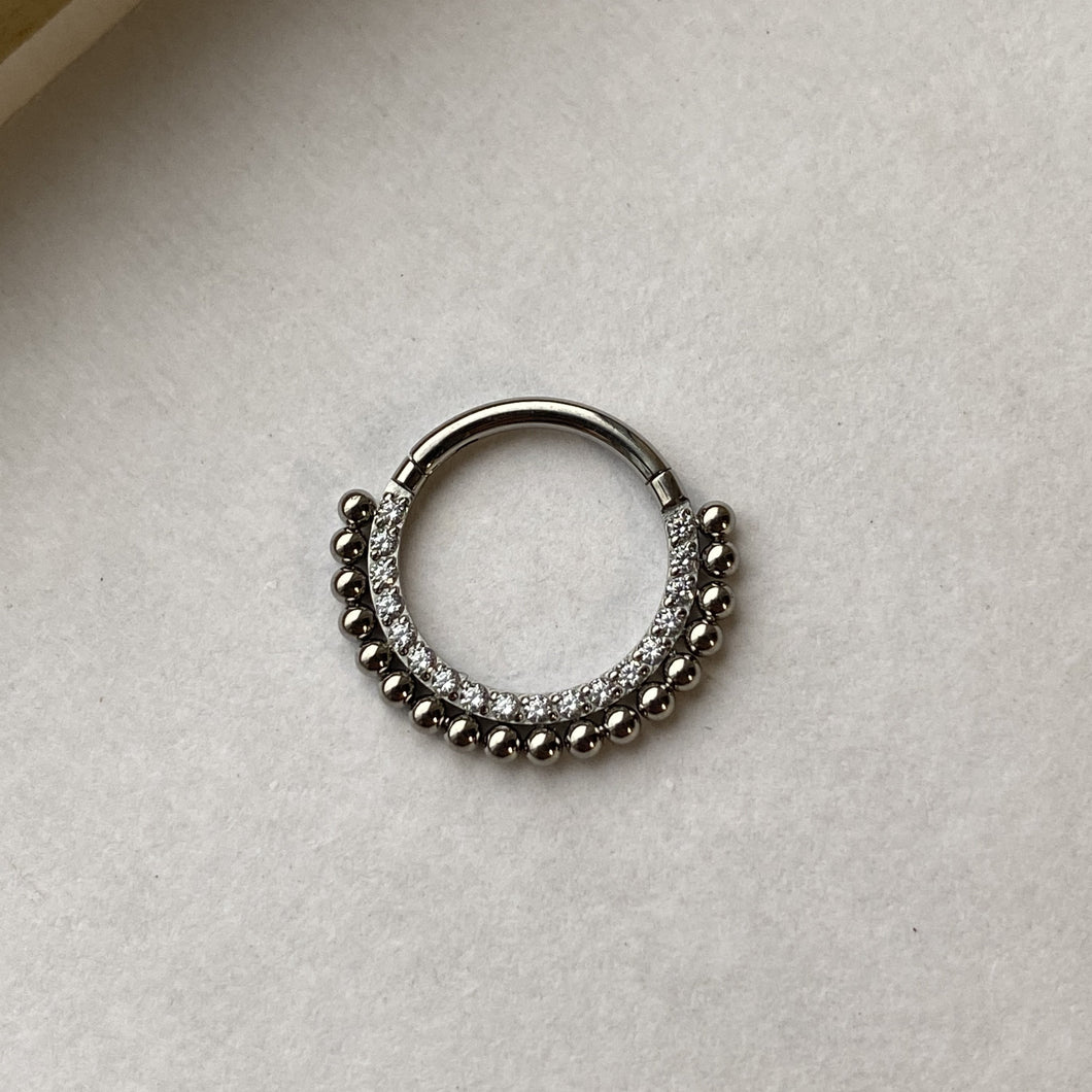 TI Front Face Pave gems Hinged Ring