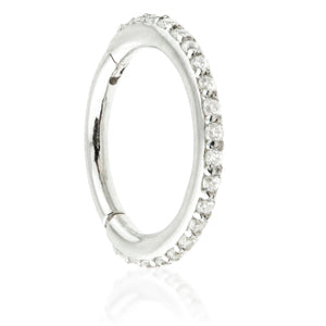 Tish Lyon 9kt Pave Gem Eternity Hinge Ring