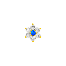 Load image into Gallery viewer, Junipurr 14kt Flower with Swarovski & blue opal