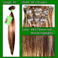 #4/27 Brown w/ Blonde Highlights - 20 inch Remi-thumbnail