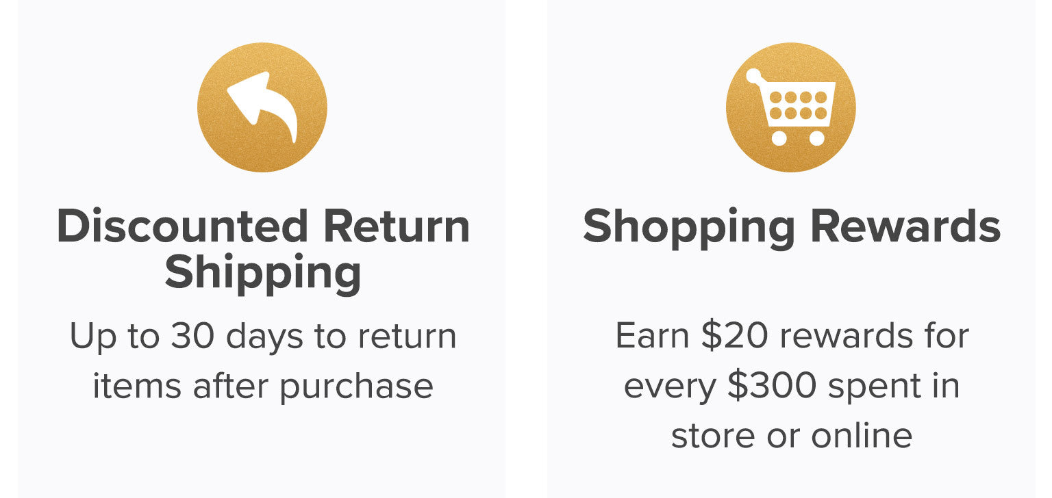 Discounted return shipping. Up to 30 days to return items after purchase. Shopping rewards. Earn $20 rewards for every $300 spent in store or online.