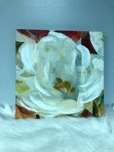 White Painted Flower Wall Art