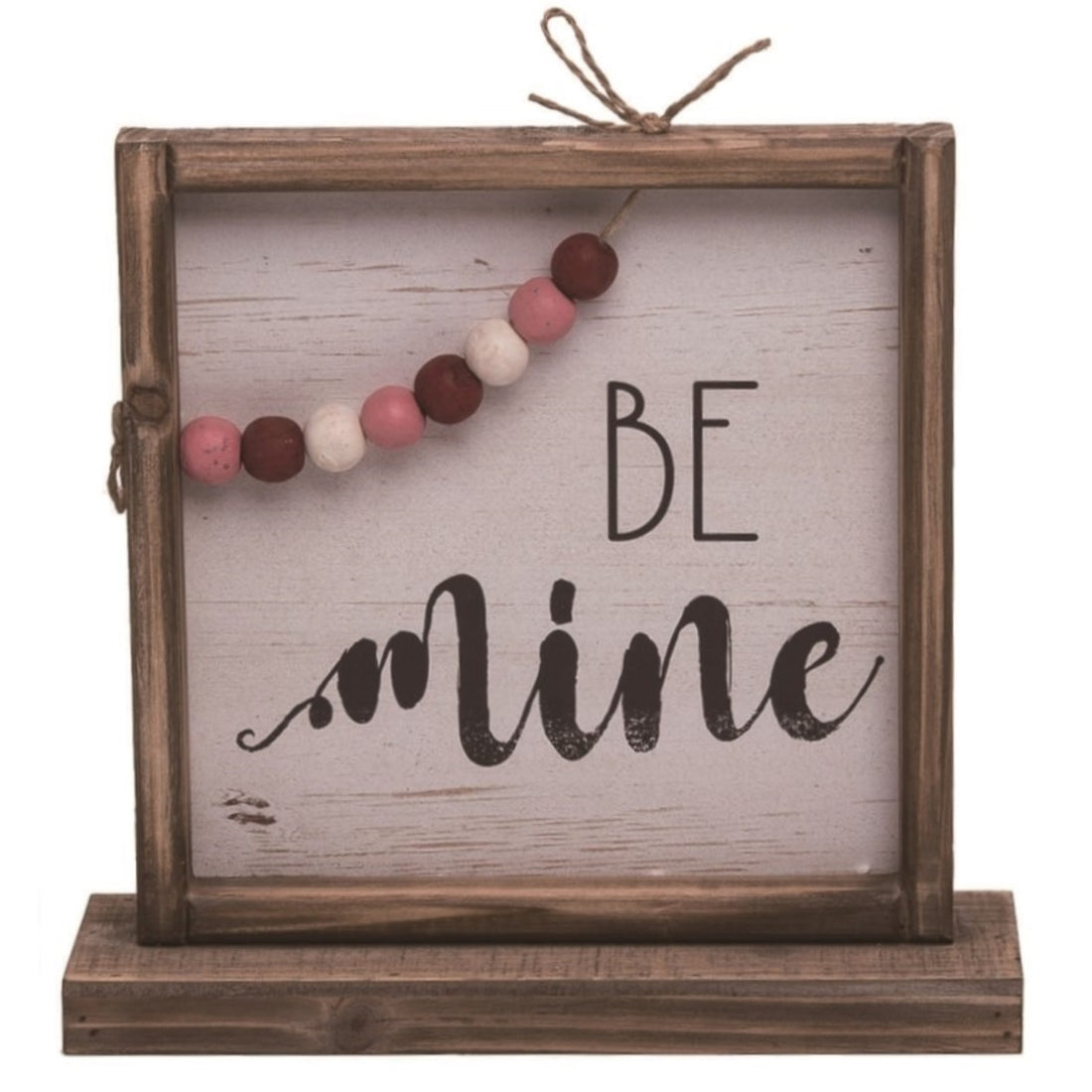 Wood 11 in. Brown Valentines Day Be Mine Standing Décor with Bead Accents