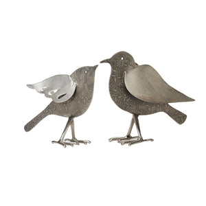 Set of 2 Silver Etched Birds
