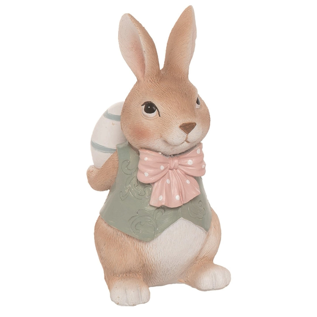 Resin 6 in. Brown Easter Fancy Bunny Figurine