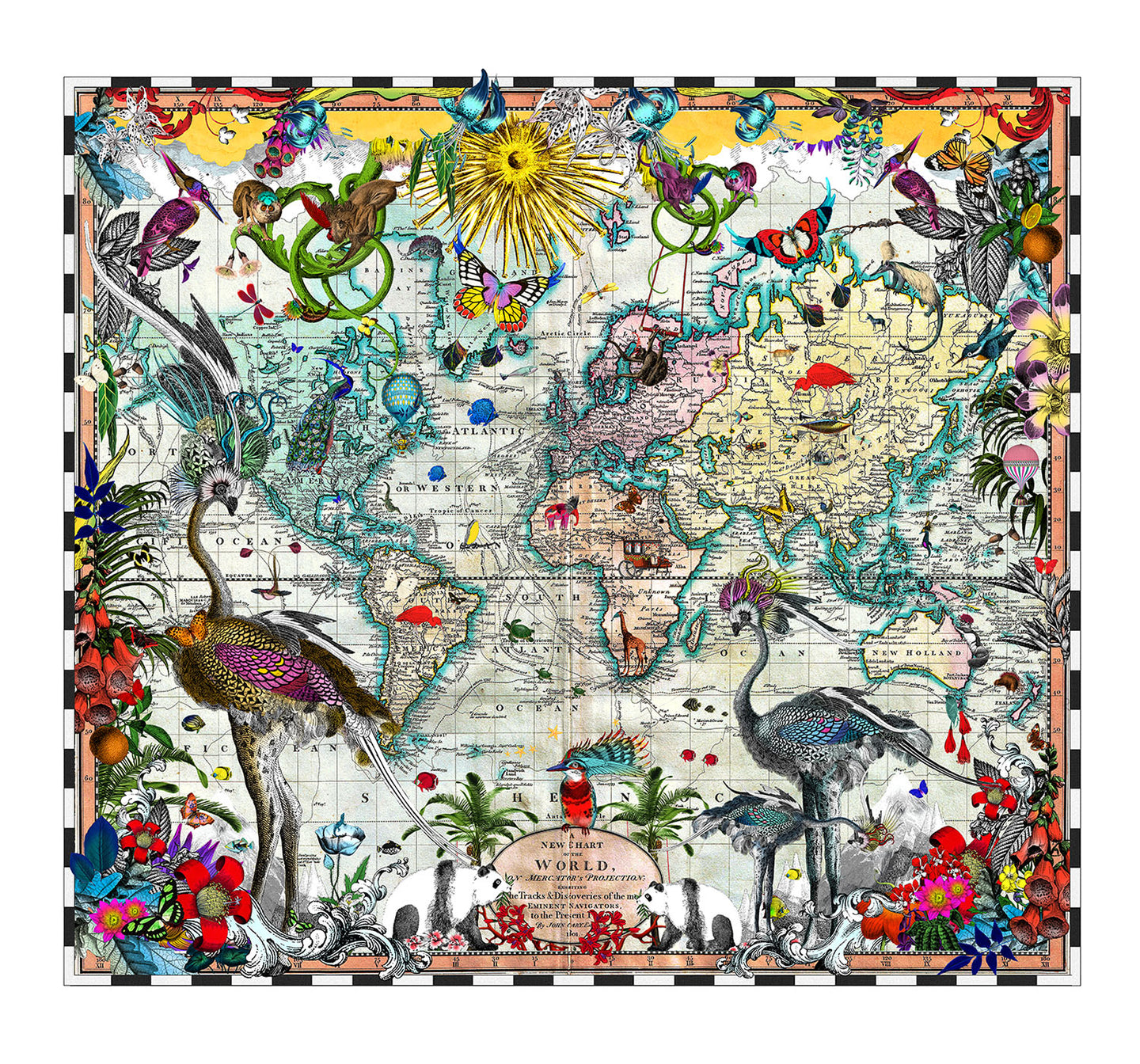 Navigators' Tracks & Discoveries of the World - Art Print - S