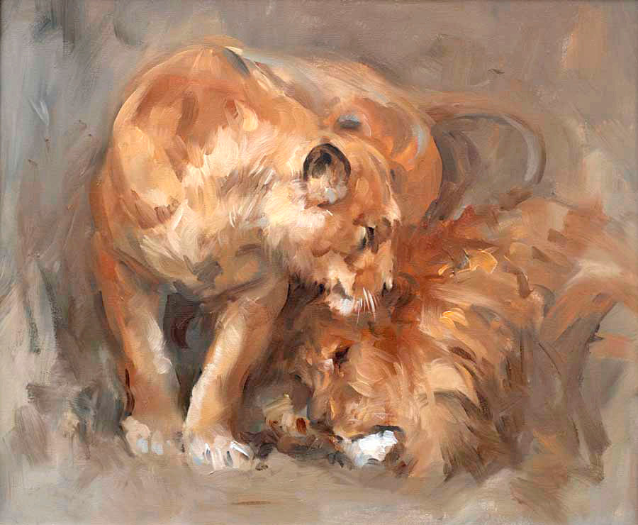 Jacqueline Stanhope oil painting Lions