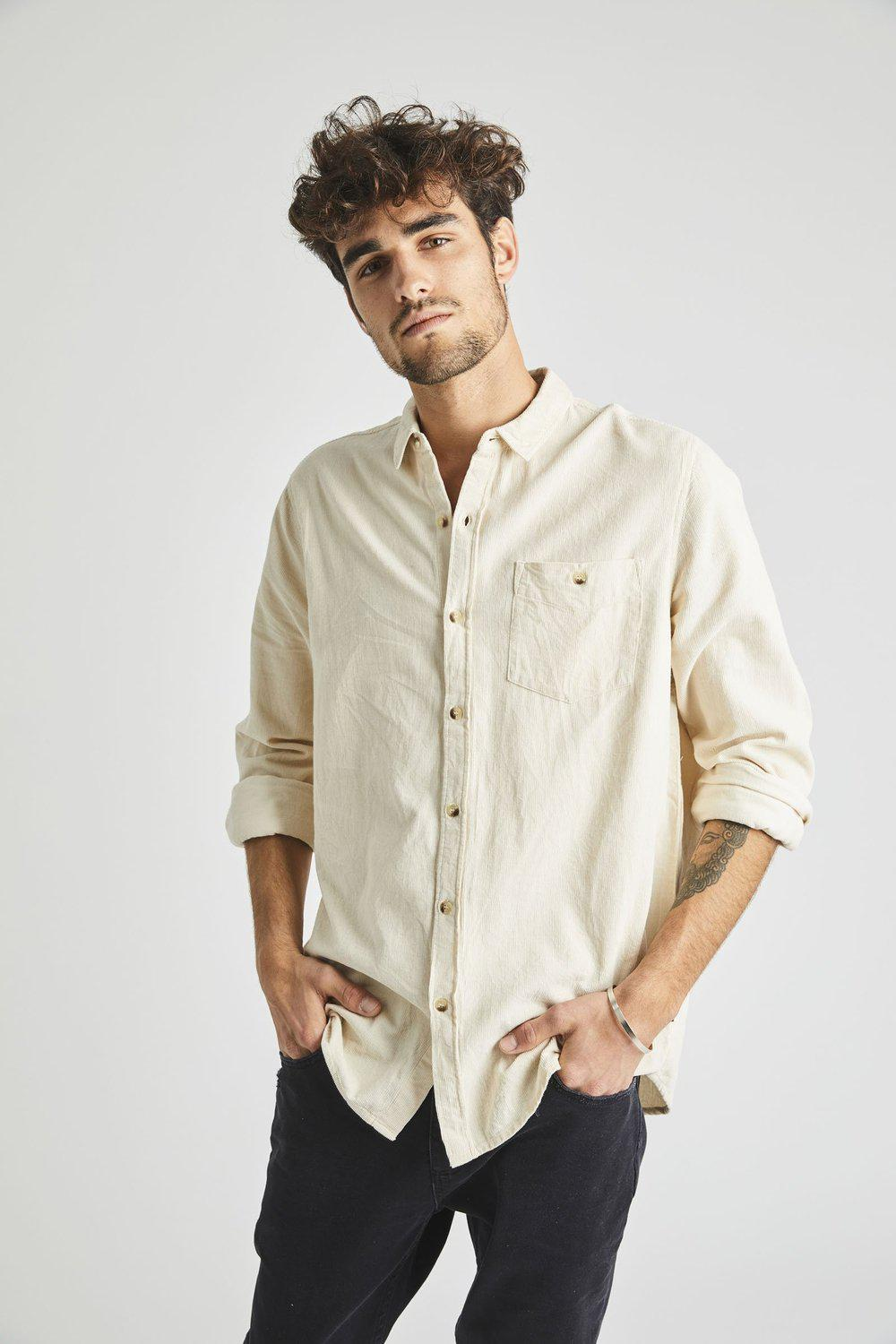 Men At Work L/S Shirt / Natural Cord | Rollas | Mad About The Boy