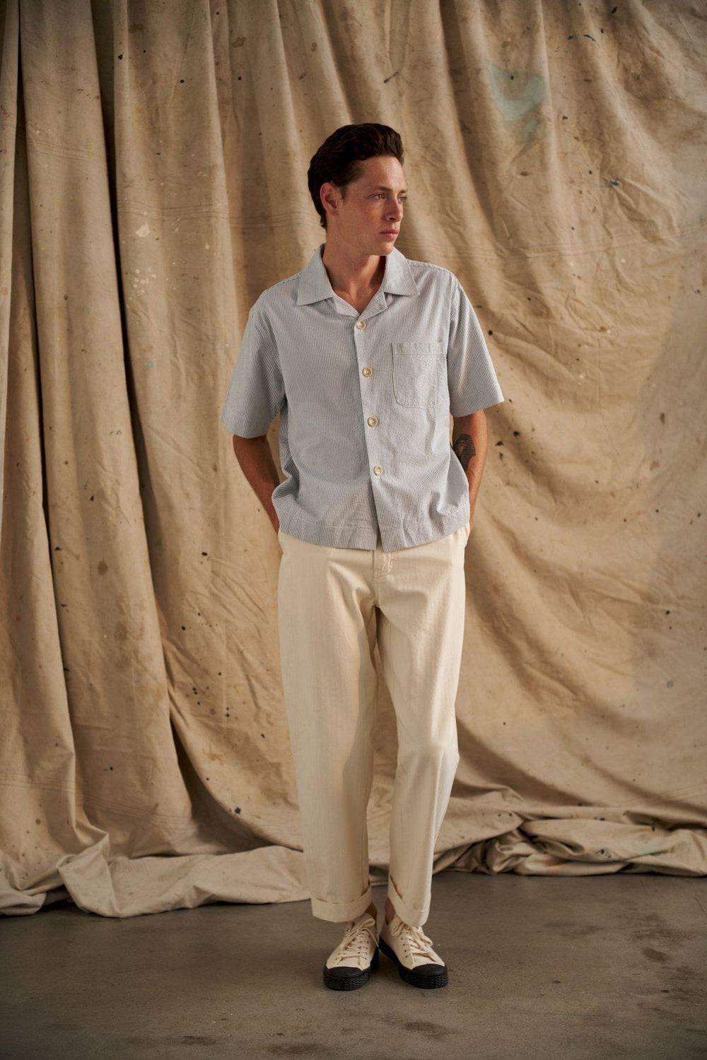Japanese Herringbone Pant / Creme | CHARLTON | Mad About The Boy