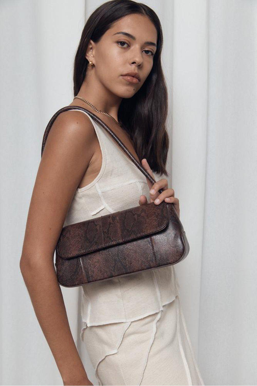 The Camille Bag / Dark Brown Snake Skin | Brie Leon | Mad About The Boy
