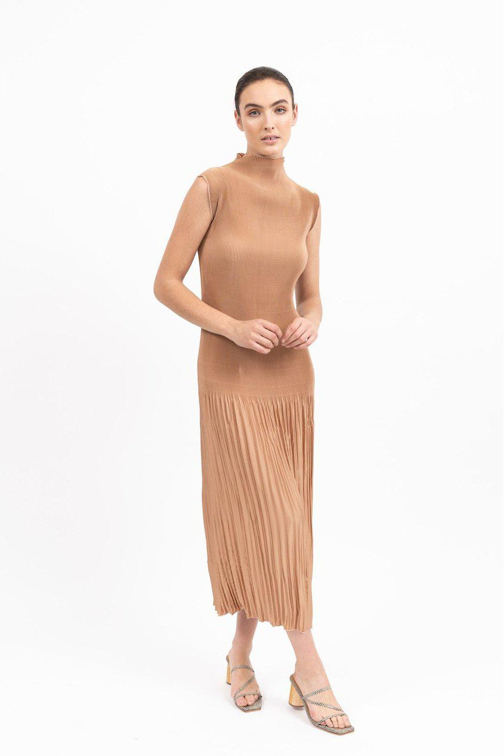 Soirèe Pleat Gown / Caramel | L'idèe | Mad About The Boy