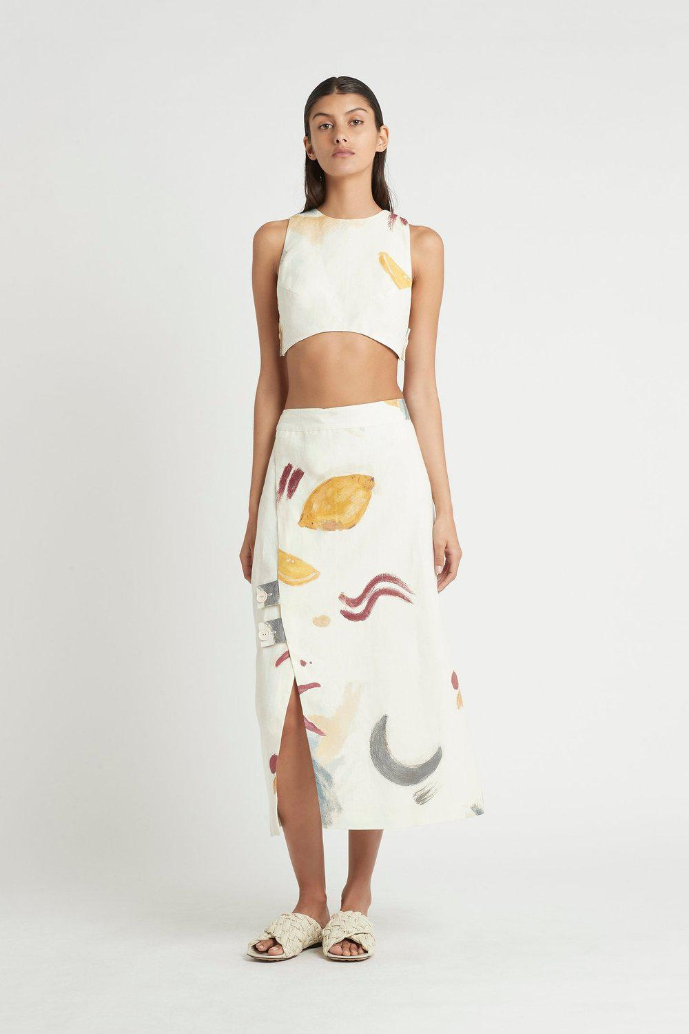 Martine Wrap Midi Skirt / Martine Print | SIR | Mad About The Boy