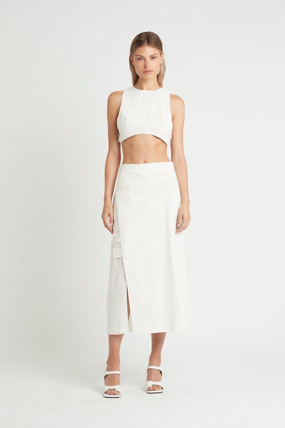 Martine Wrap Midi Skirt / Ivory | SIR | Mad About The Boy