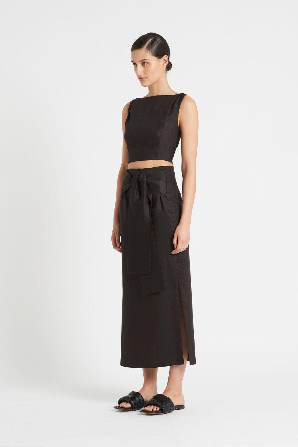 AMBROISE TIE MIDI SKIRT / Black | SIR | Mad About The Boy