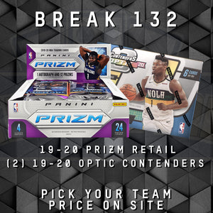 TEAM BREAK #132; 1 PRIZM RETAIL BOX, 2 OPTIC CONTENDERS BOXES
