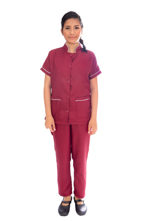 The Annie Suit in Maroon/Cream