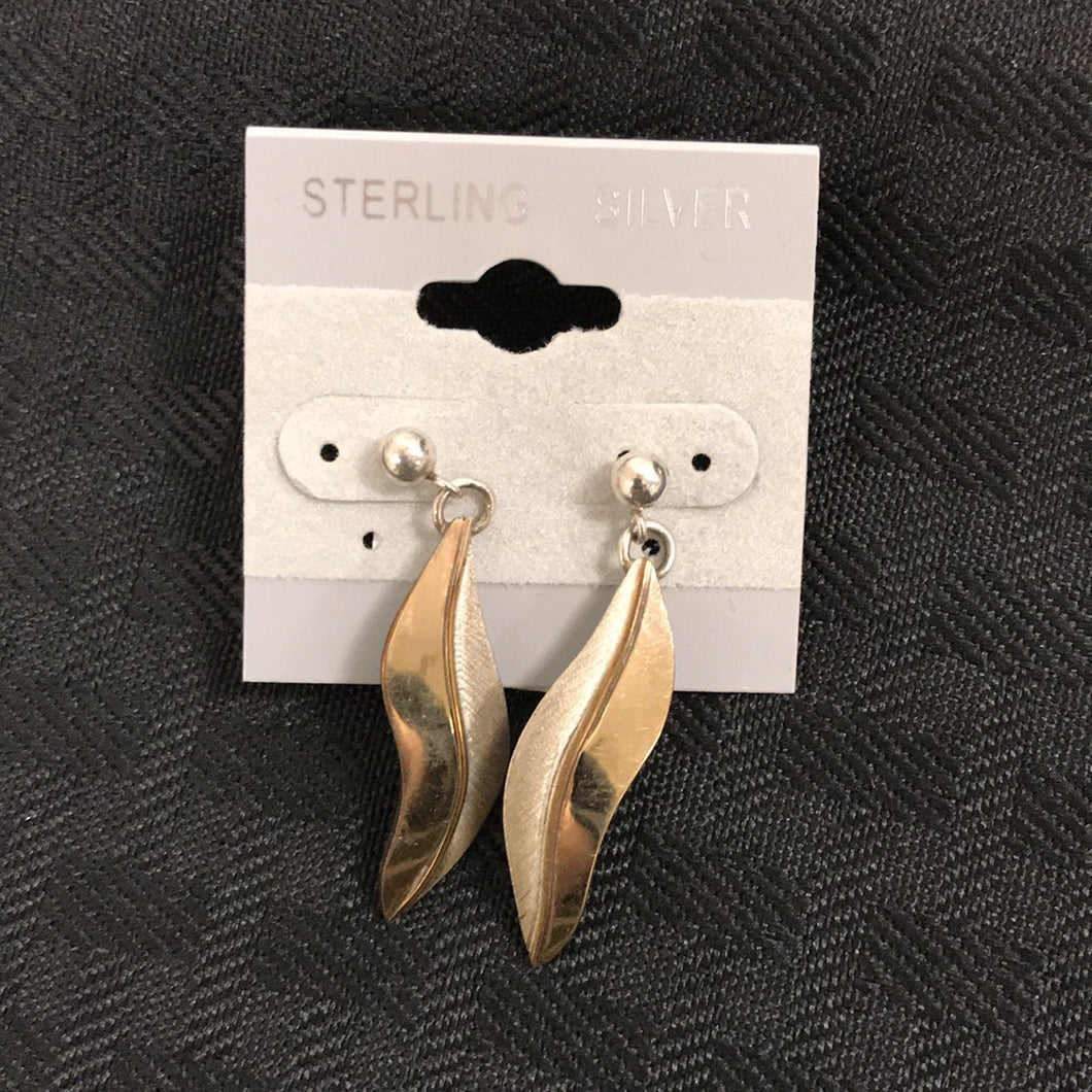 Sterling Silver Signed Feather Earrings