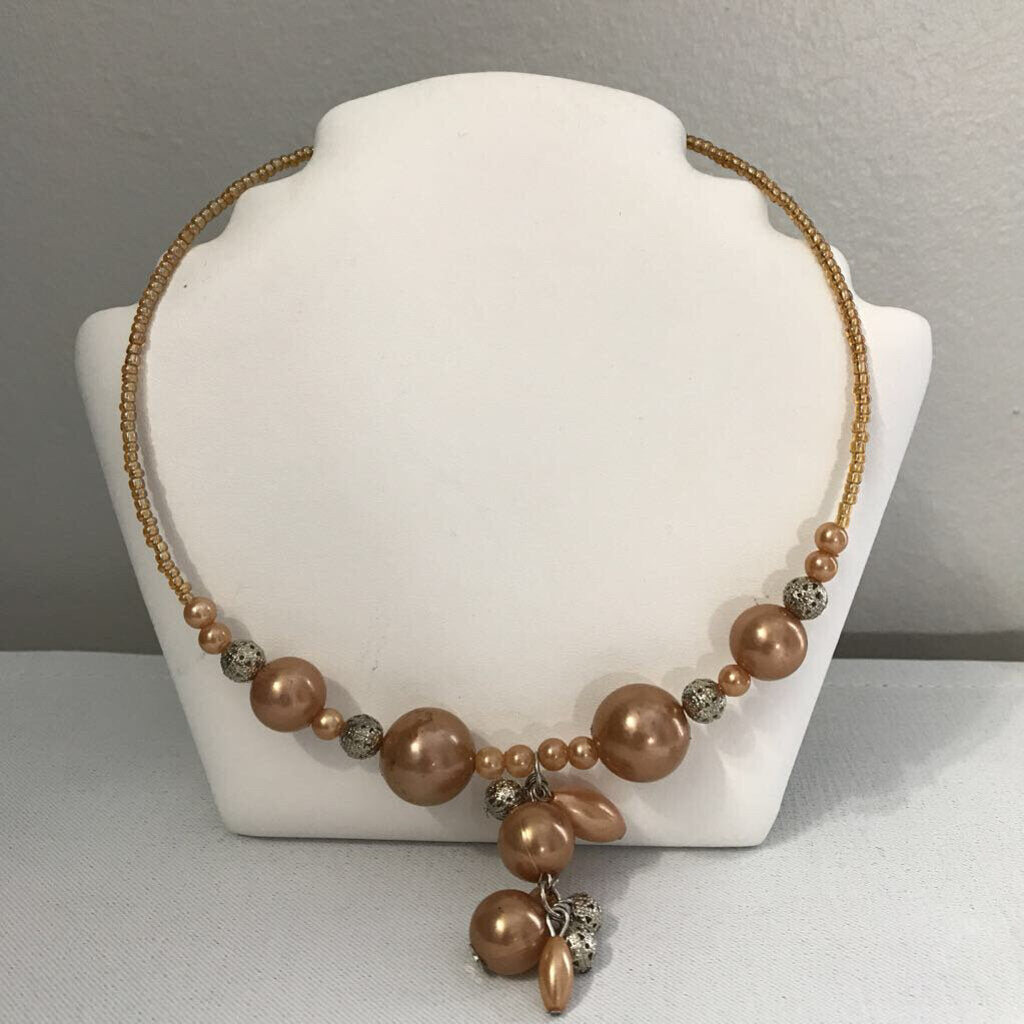 Gold Tone Beaded Choker Necklace
