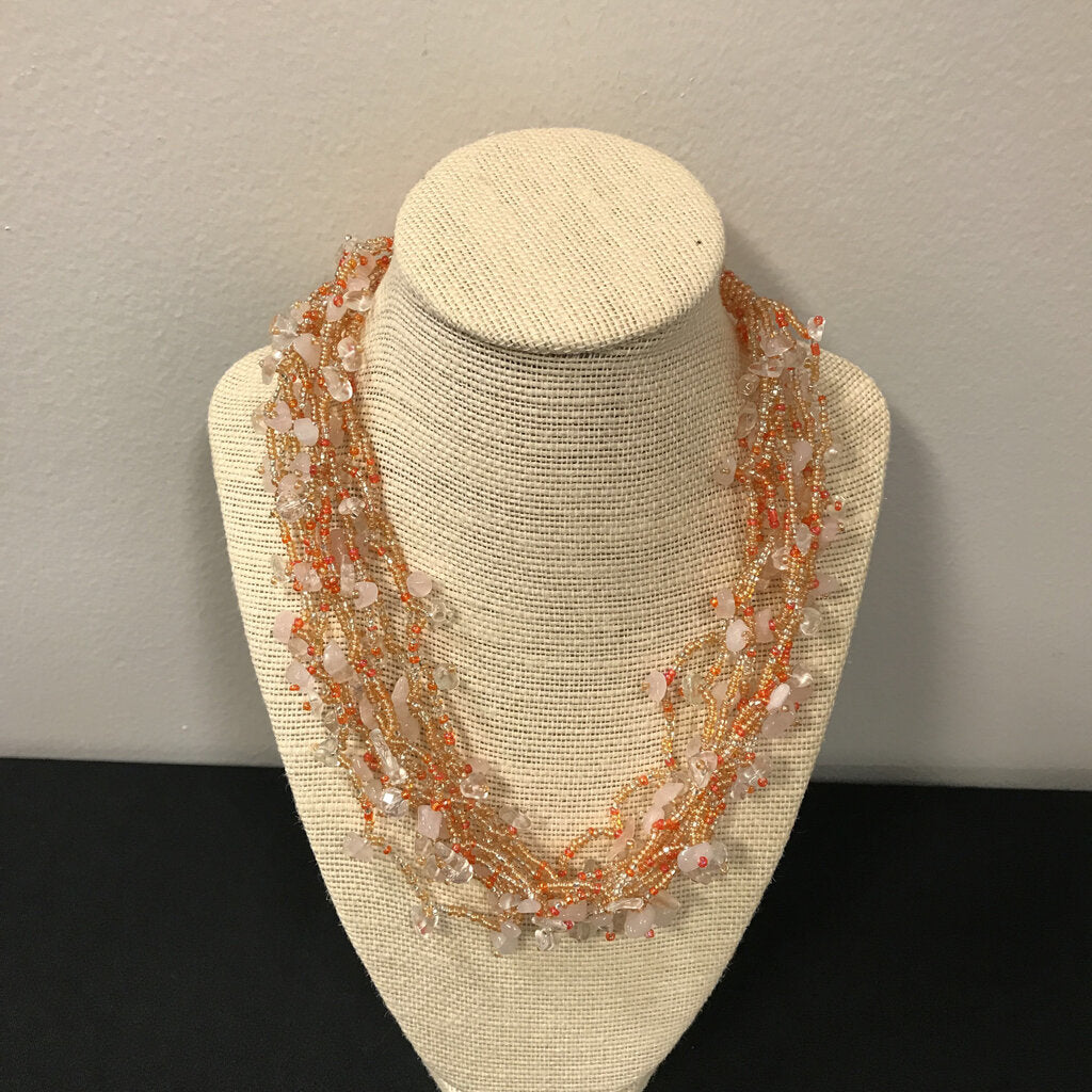 Peach Beaded Stone Necklace