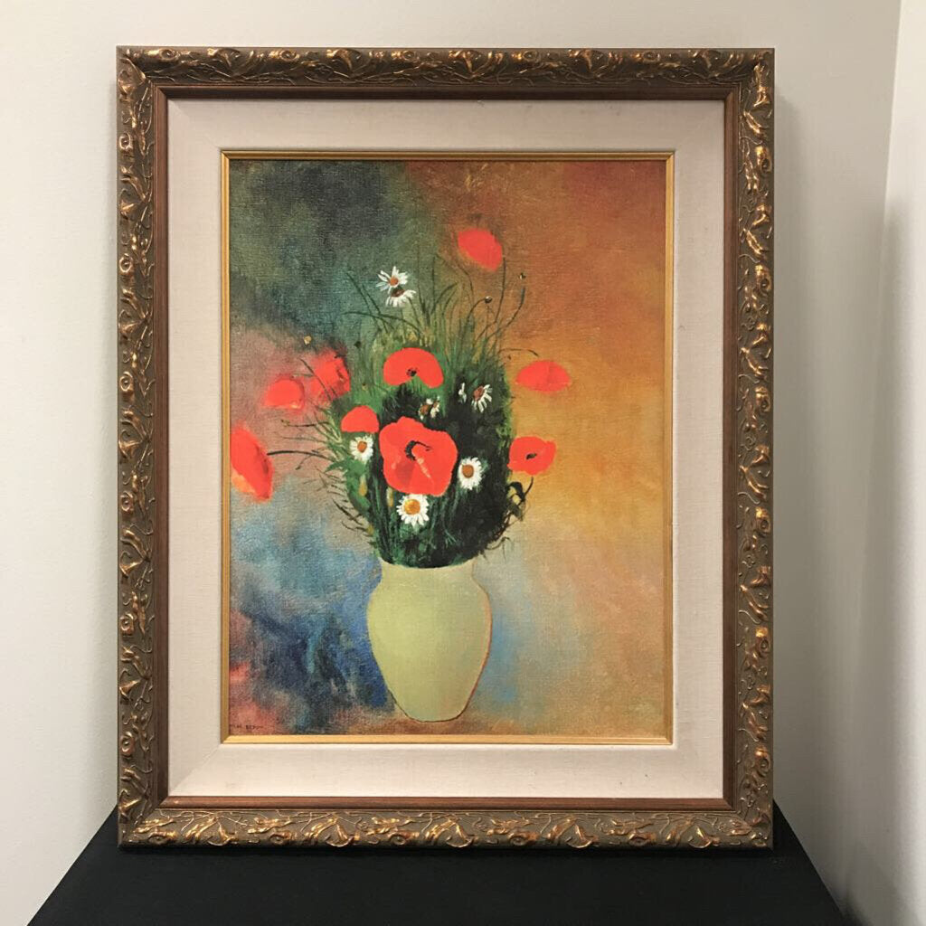Gold Framed Vase Red Flower (28x23)