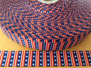 4th of July Vertical stripes and Stars Grosgrain Ribbon - Patriotic Ribbons