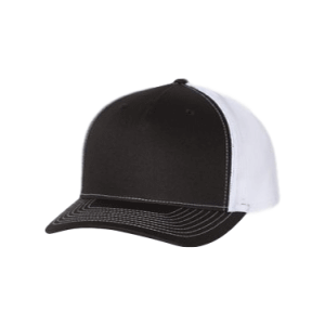 Black and White 5 Panel Richardson Trucker Hat sold by RQC Supply Canada