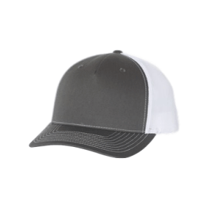 Charcoal grey and White 5 Panel Richardson Trucker Hat sold by RQC Supply Canada