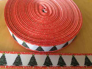 "Christmas Tree Grosgrain Ribbon 7/8"", Christmas Ribbons, Trees with Red and White Border"