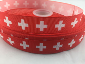 "First Aid Grosgrain Ribbon 7/8""  - Red Plus Ribbons"
