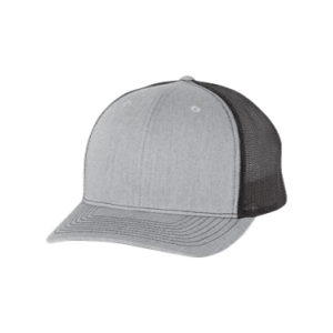 Heather grey and Black 5 Panel Richardson Trucker Hat sold by RQC Supply Canada