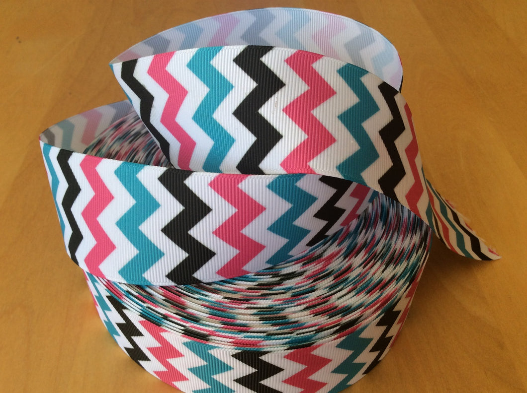 Teal Pink and Black Chevron  Grosgrain Ribbon 1.5