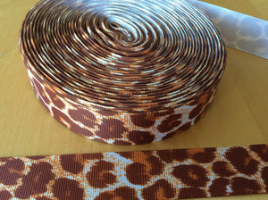 Brown Leopard Grosgrain Ribbon 1""