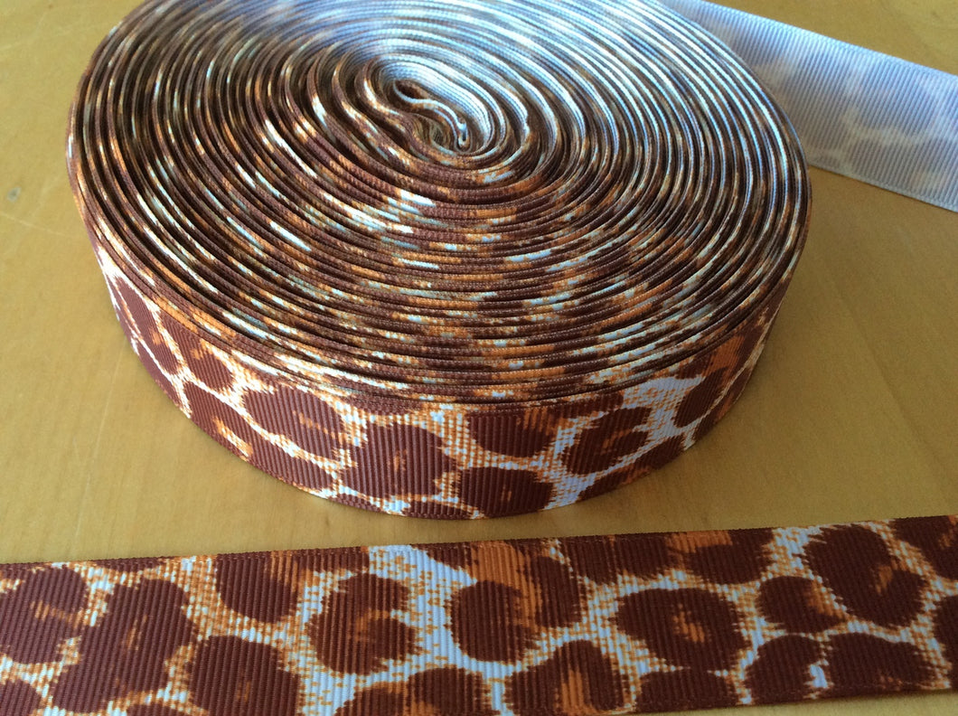 Brown Leopard Grosgrain Ribbon 1