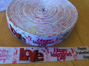 "Valentines Day Grosgrain Ribbon 7/8"" - White Ribbon with Happy Valentines Day script and Block LOVE"