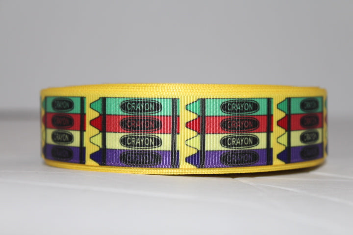 Solid Yellow Crayons Grosgrain Ribbon 1