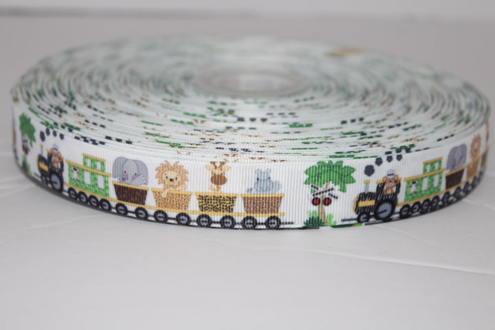 Train with Monkey, cow, Elephant, Hippo, Lion & Giraffe Grosgrain Ribbon 7/8