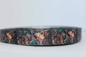 "Camo Grosgrain Ribbon 7/8""  light/dark brown and green leaves camouflage ribbon"