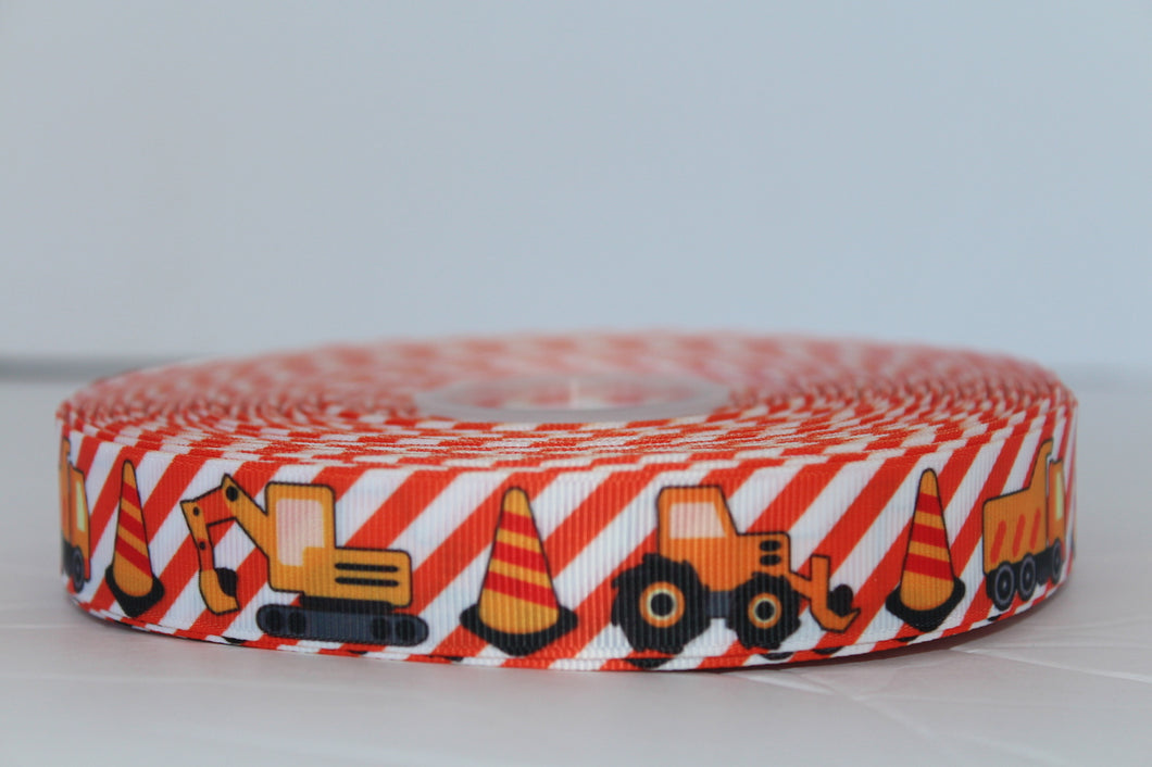 Orange Striped  Construction Vehicles with pylon Grosgrain Ribbon 1