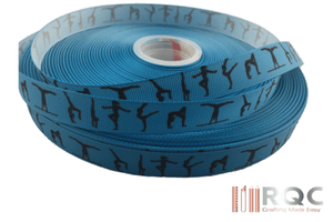"Gymnastics Grosgrain Ribbon 5/8"" - Light Blue With Silhouettes"