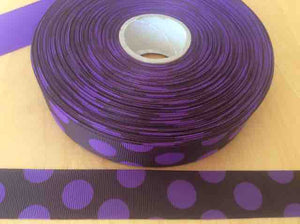 "Purple Polka Dot Grosgrain Ribbons 7/8"", Dark Background"
