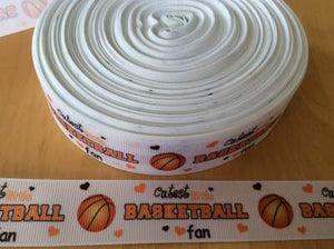 "Cutest Little Basketball Fan 1"" Ribbon,  Basketball Ribbons"